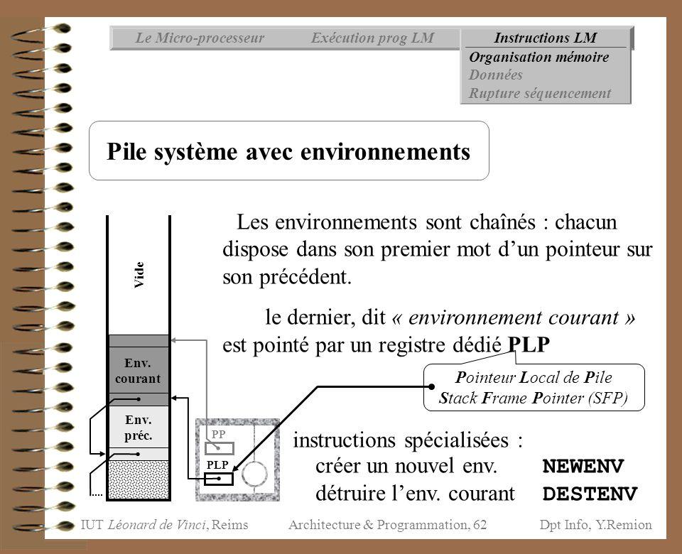 Pile système avec environnements