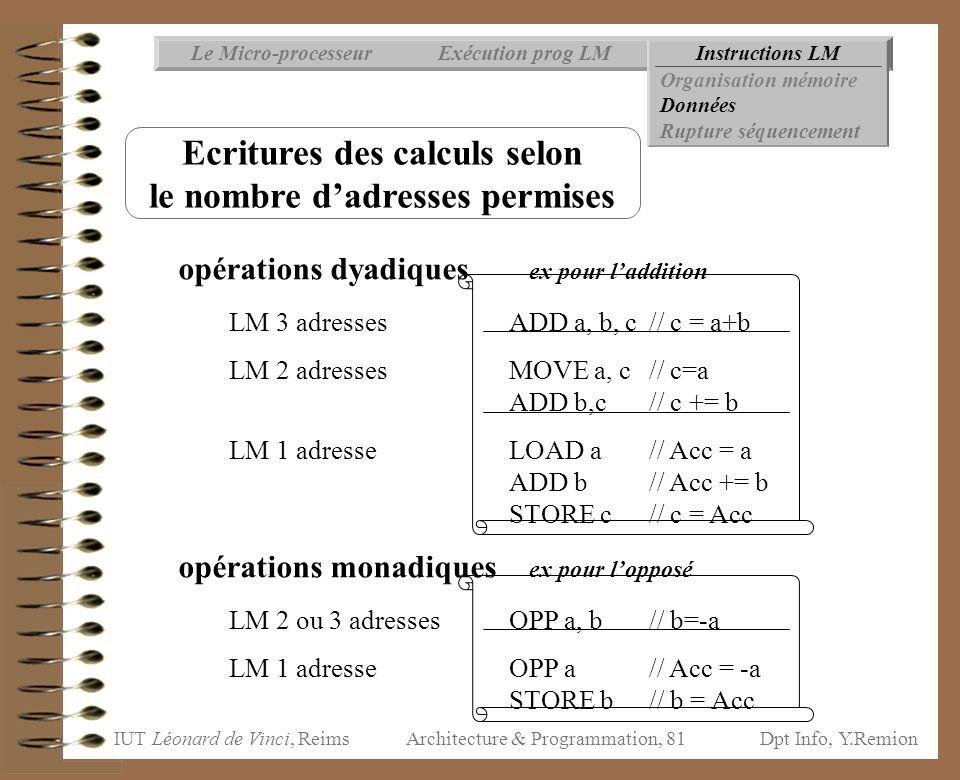Ecritures des calculs selon le nombre d'adresses permises