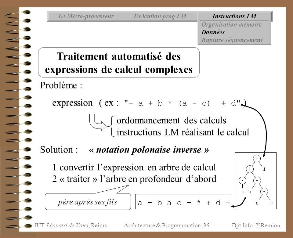 Traitement automatisé des expressions de calcul complexes