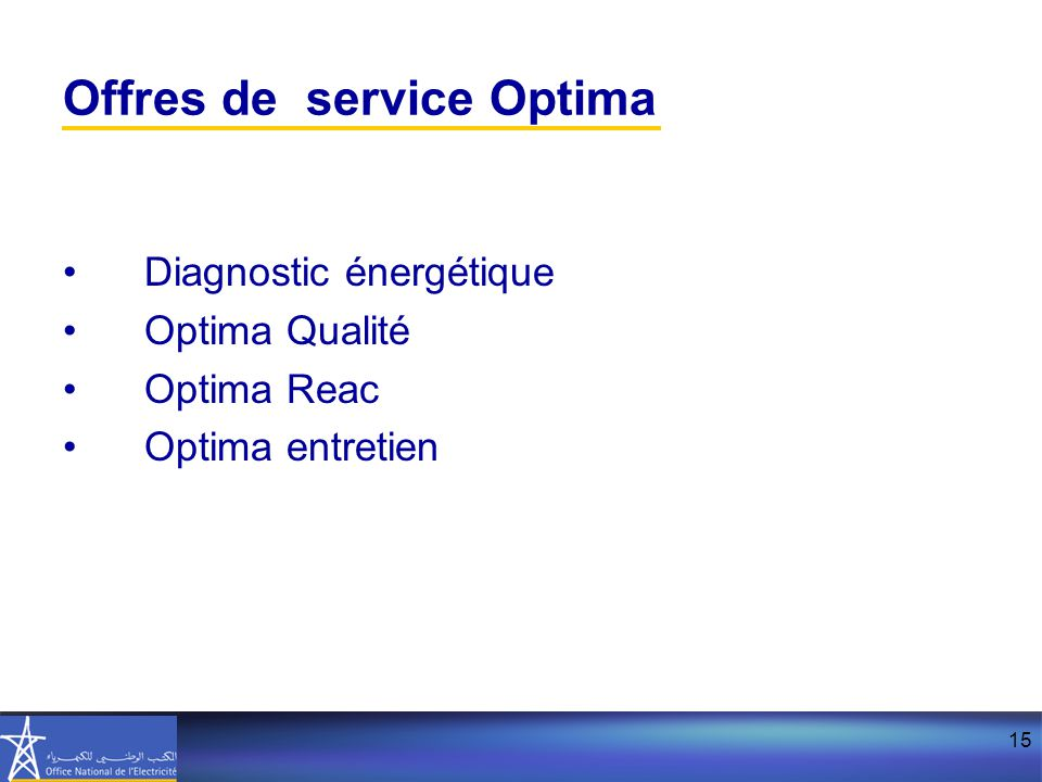 Offres de service Optima