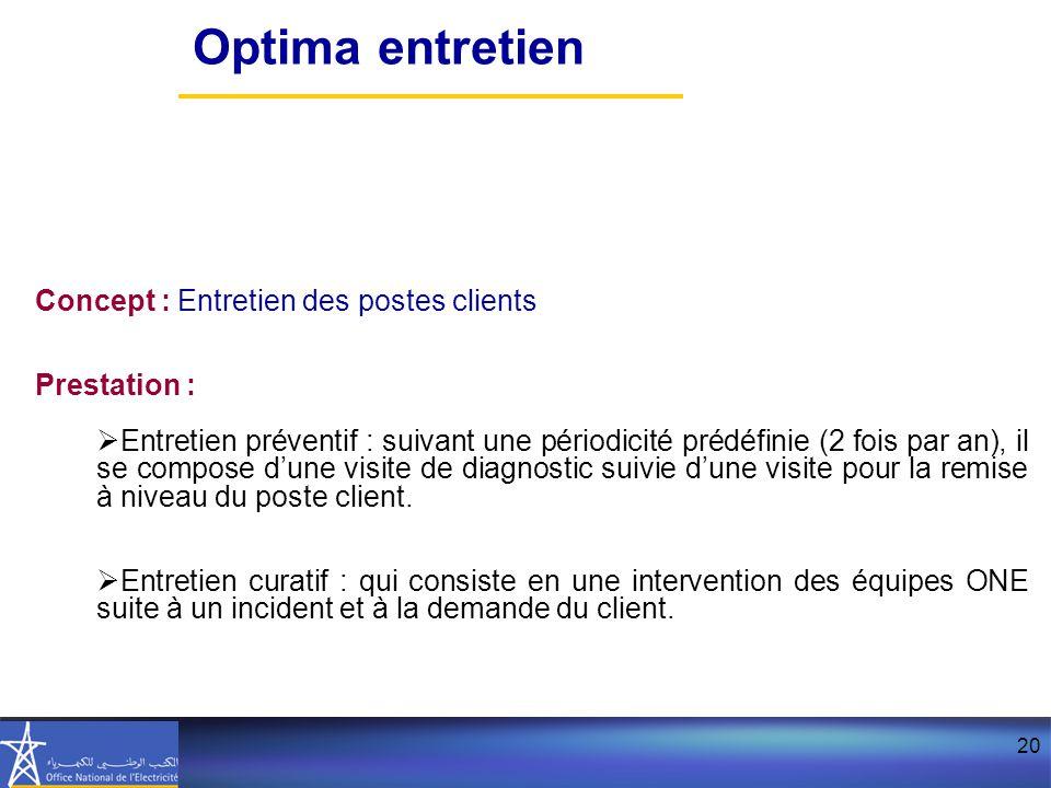 Optima entretien Concept : Entretien des postes clients Prestation :