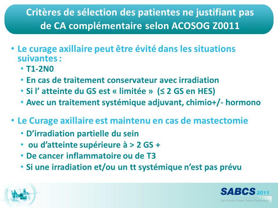 Critères de sélection des patientes ne justifiant pas de CA complémentaire selon ACOSOG Z0011