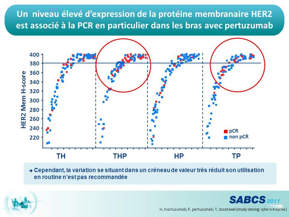 Un niveau élevé d'expression de la protéine membranaire HER2 est associé à la PCR en particulier dans les bras avec pertuzumab
