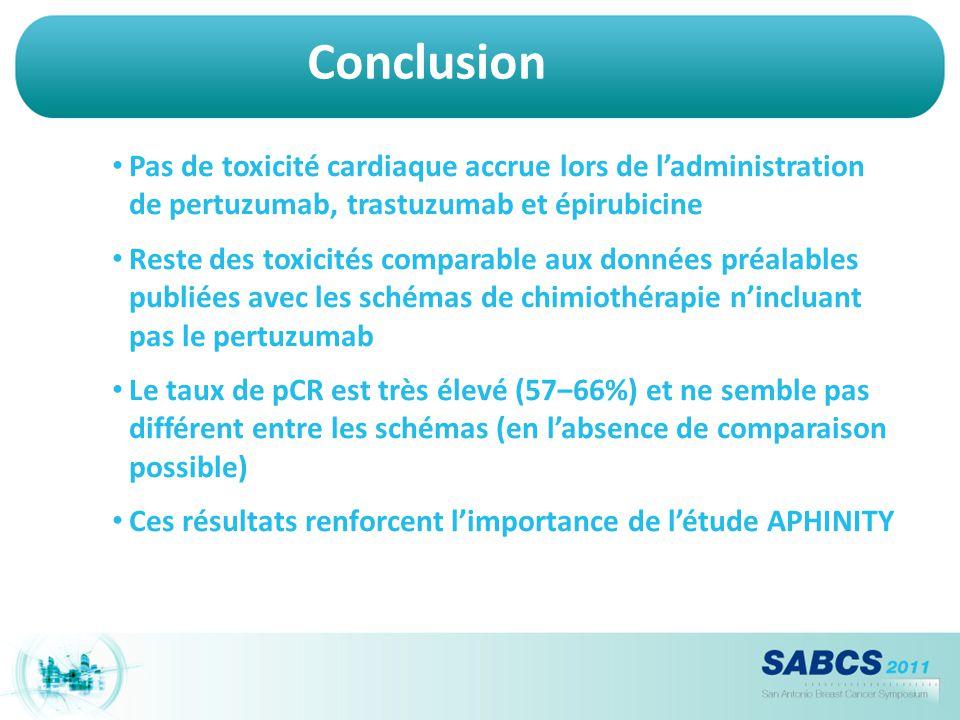 Conclusion Pas de toxicité cardiaque accrue lors de l'administration de pertuzumab, trastuzumab et épirubicine.