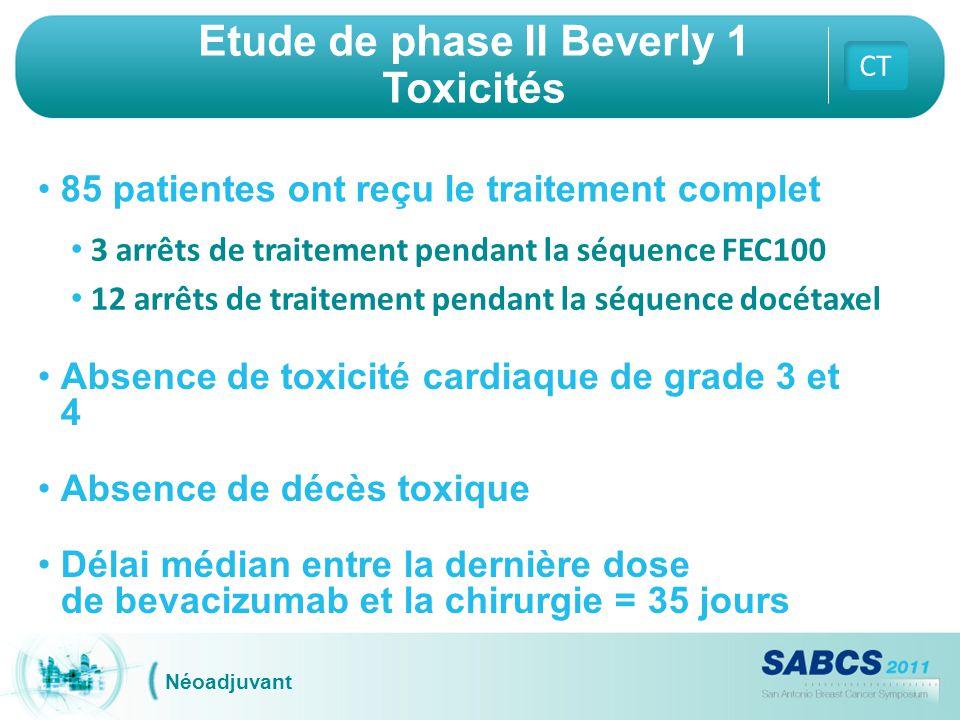 Etude de phase II Beverly 1 Toxicités