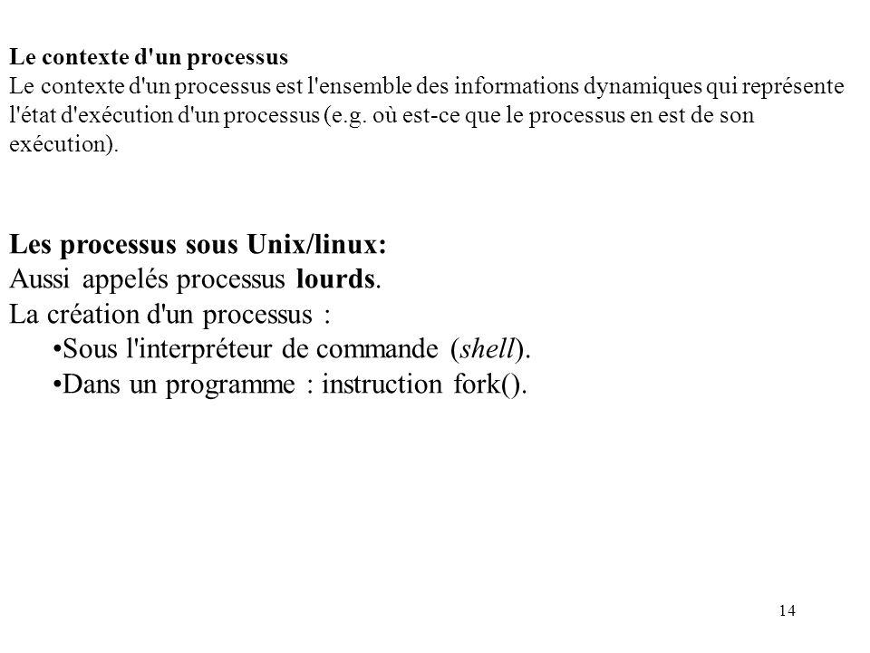 Les processus sous Unix/linux: Aussi appelés processus lourds.