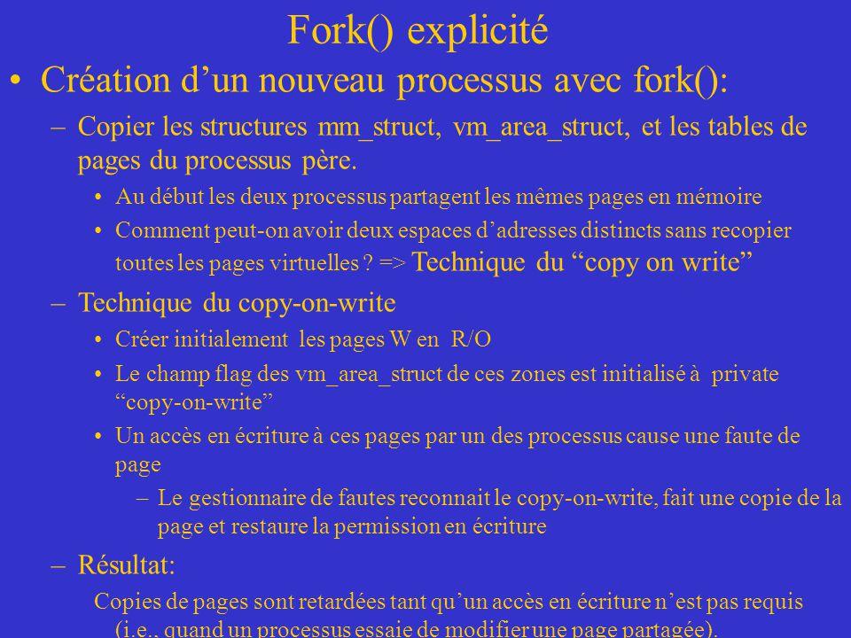 Fork() explicité Création d'un nouveau processus avec fork():