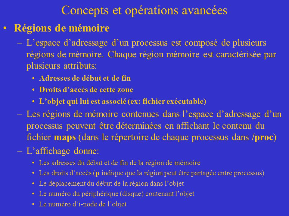 Concepts et opérations avancées