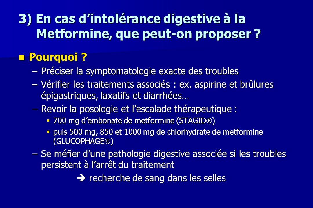 3) En cas d'intolérance digestive à la Metformine, que peut-on proposer