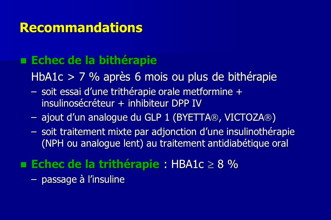 Recommandations Echec de la bithérapie