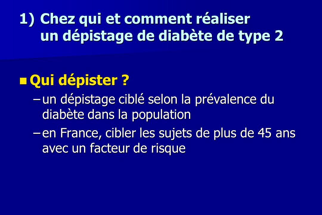 1) Chez qui et comment réaliser un dépistage de diabète de type 2