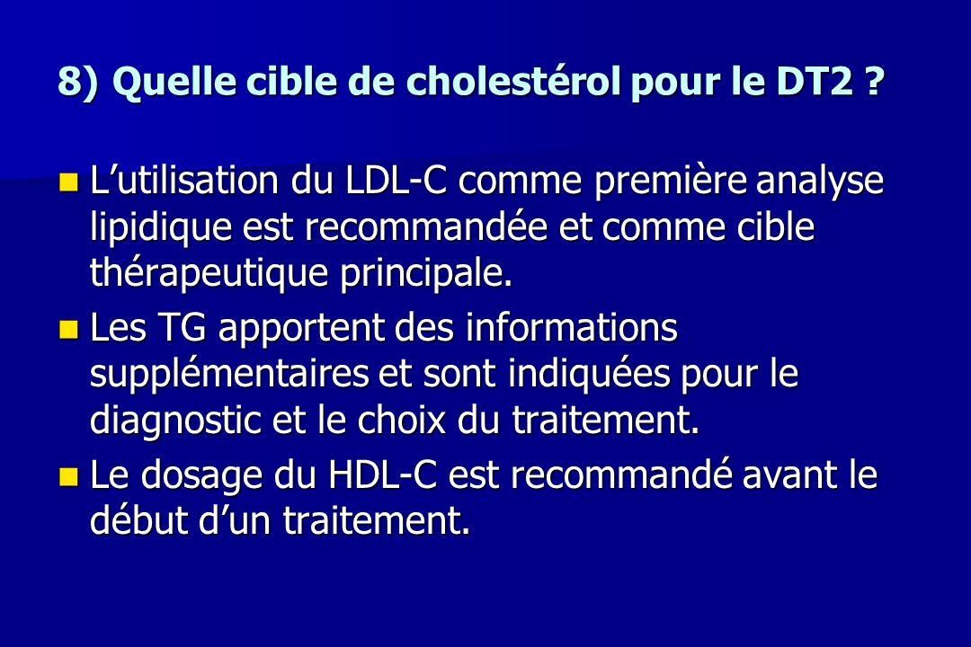 8) Quelle cible de cholestérol pour le DT2