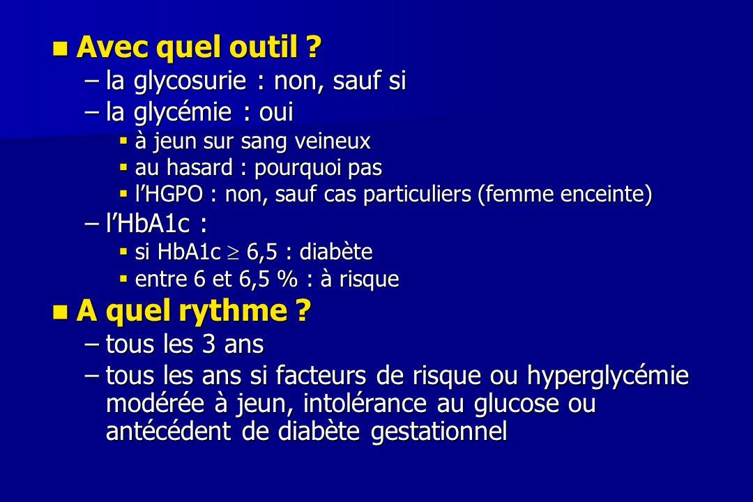 Avec quel outil A quel rythme la glycosurie : non, sauf si