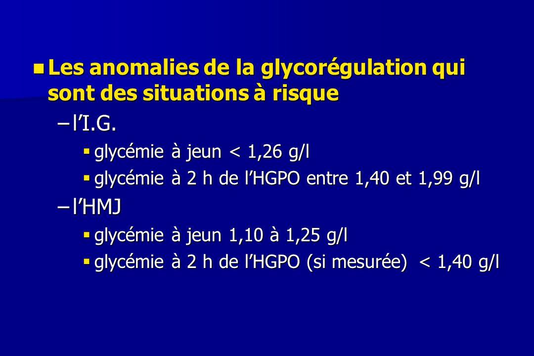 Les anomalies de la glycorégulation qui sont des situations à risque