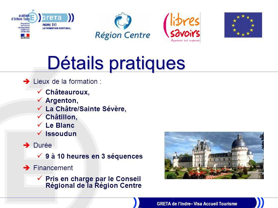 Détails pratiques Lieux de la formation : Châteauroux, Argenton,