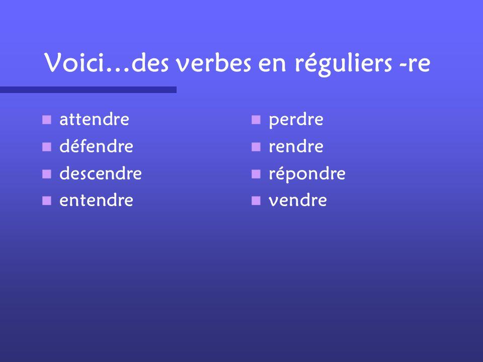 Voici…des verbes en réguliers -re