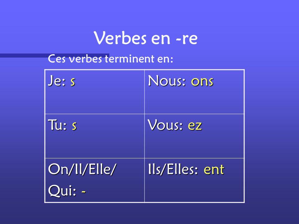 Verbes en -re Je: s Nous: ons Tu: s Vous: ez On/Il/Elle/ Qui: -