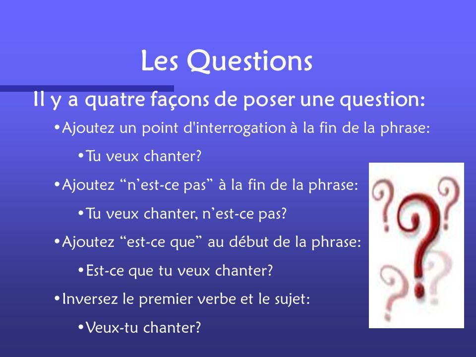Les Questions Il y a quatre façons de poser une question:
