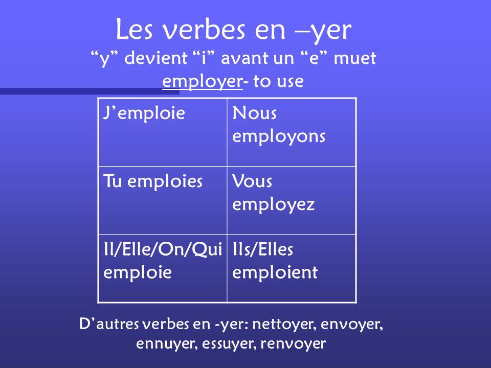 Les verbes en –yer y devient i avant un e muet employer- to use