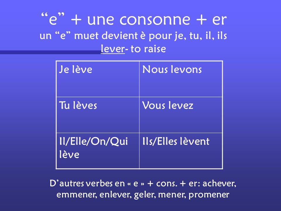 e + une consonne + er un e muet devient è pour je, tu, il, ils lever- to raise