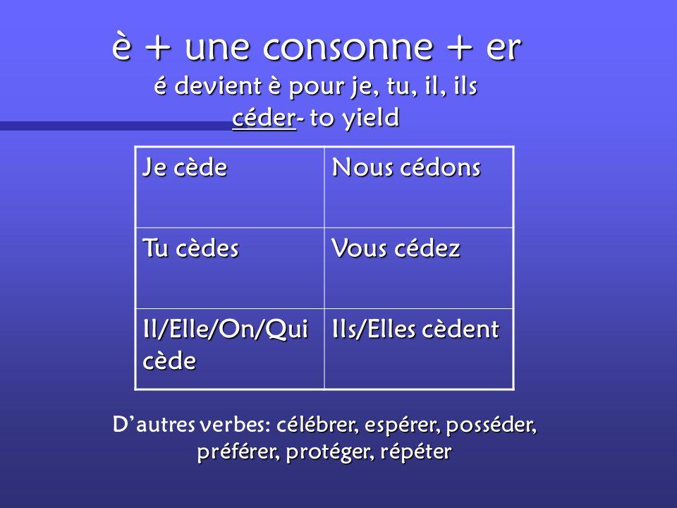 è + une consonne + er é devient è pour je, tu, il, ils céder- to yield