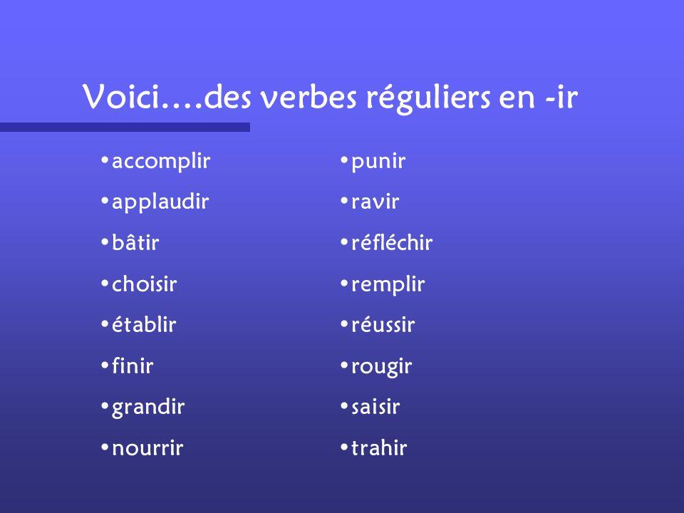 Voici….des verbes réguliers en -ir