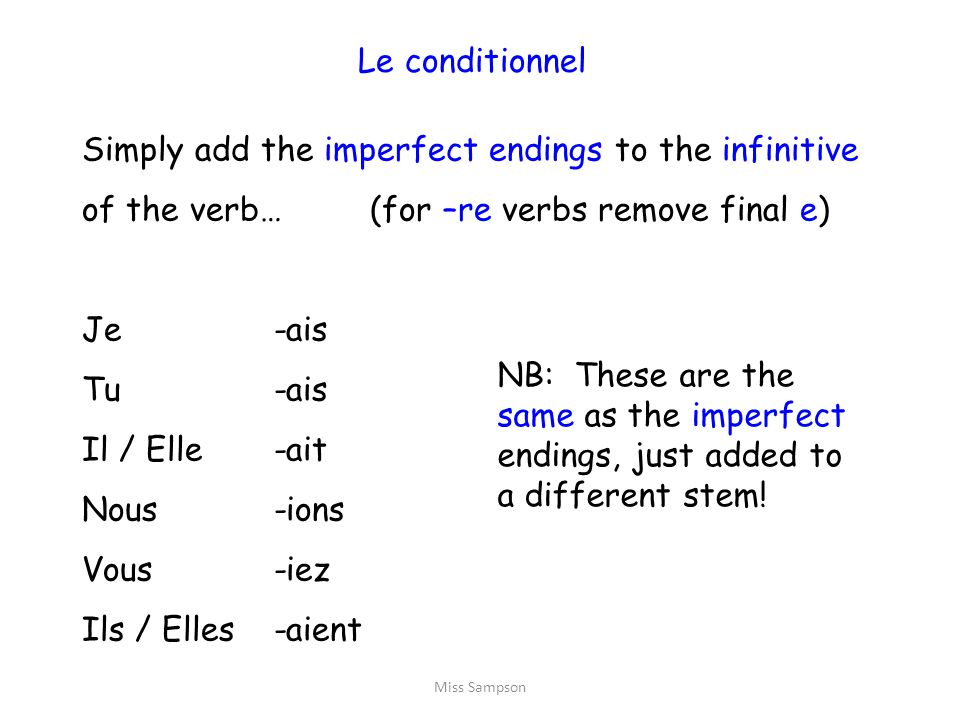 Le conditionnel Simply add the imperfect endings to the infinitive of the verb… (for –re verbs remove final e)