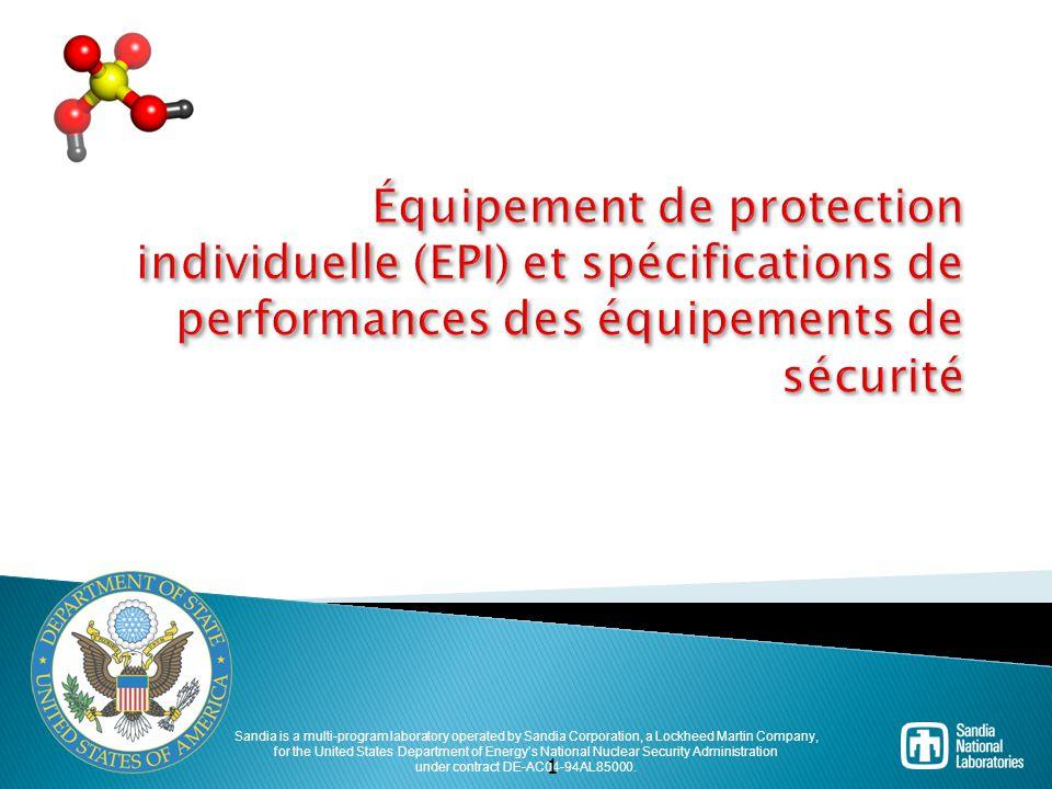 Équipement de protection individuelle (EPI) et spécifications de performances des équipements de sécurité