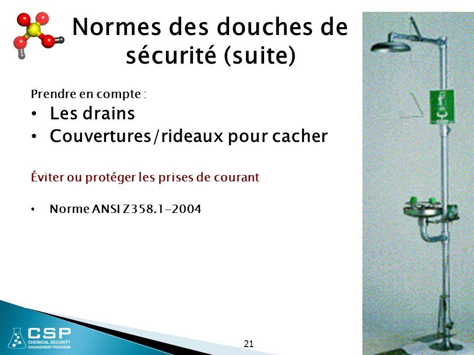 Normes des douches de sécurité (suite)