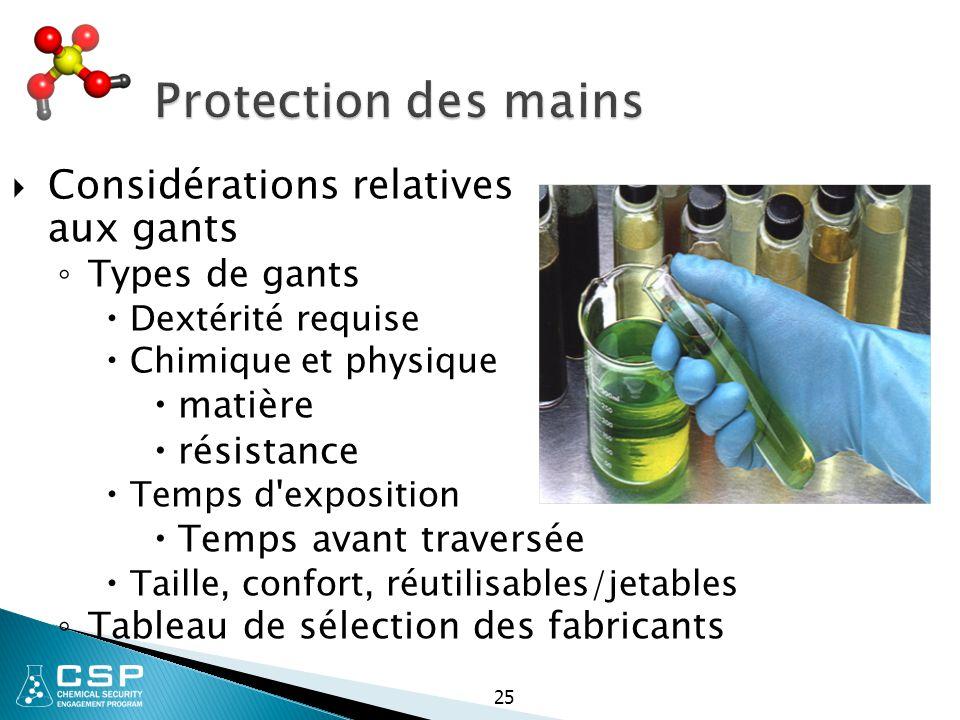 Protection des mains Considérations relatives aux gants Types de gants