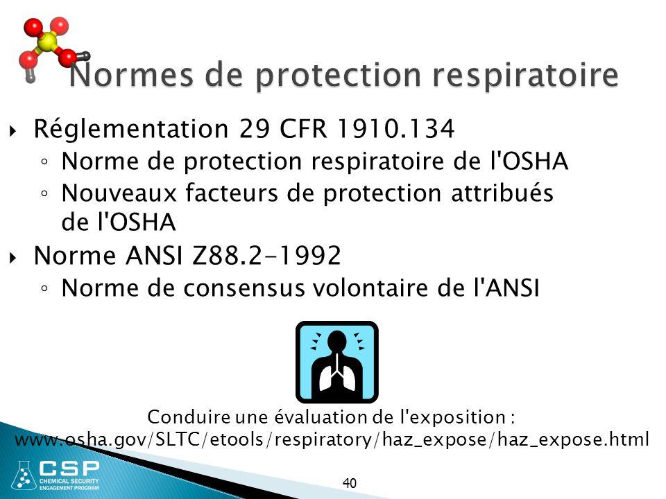 Normes de protection respiratoire