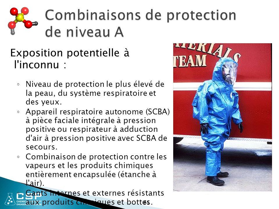 Combinaisons de protection de niveau A