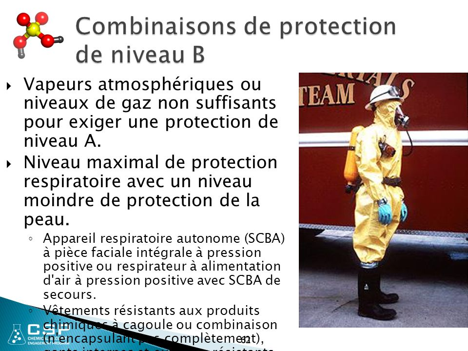 Combinaisons de protection de niveau B