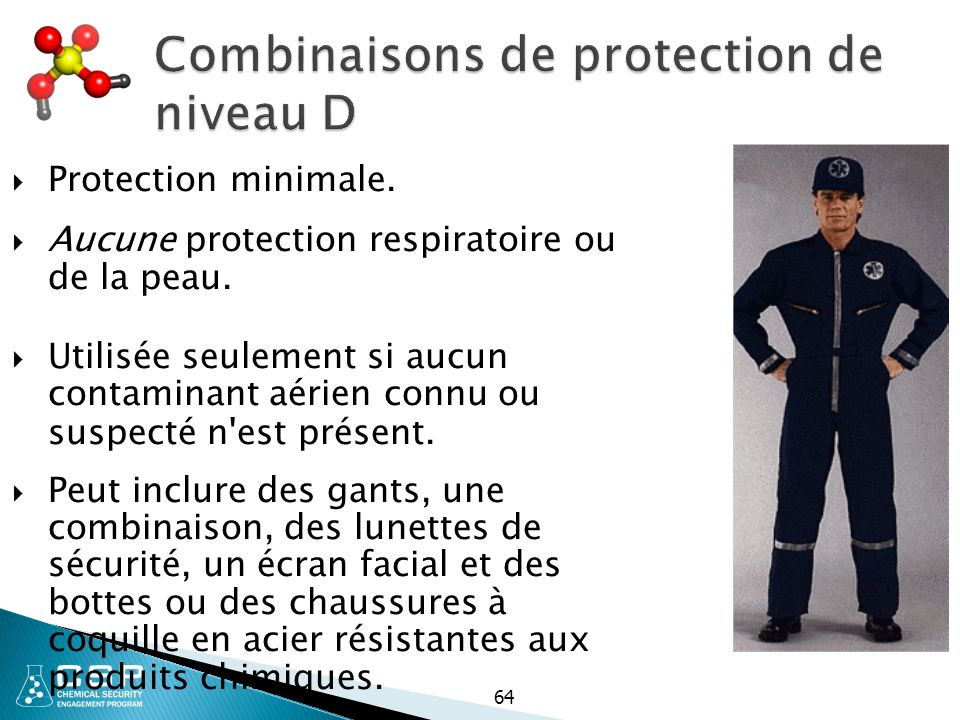 Combinaisons de protection de niveau D