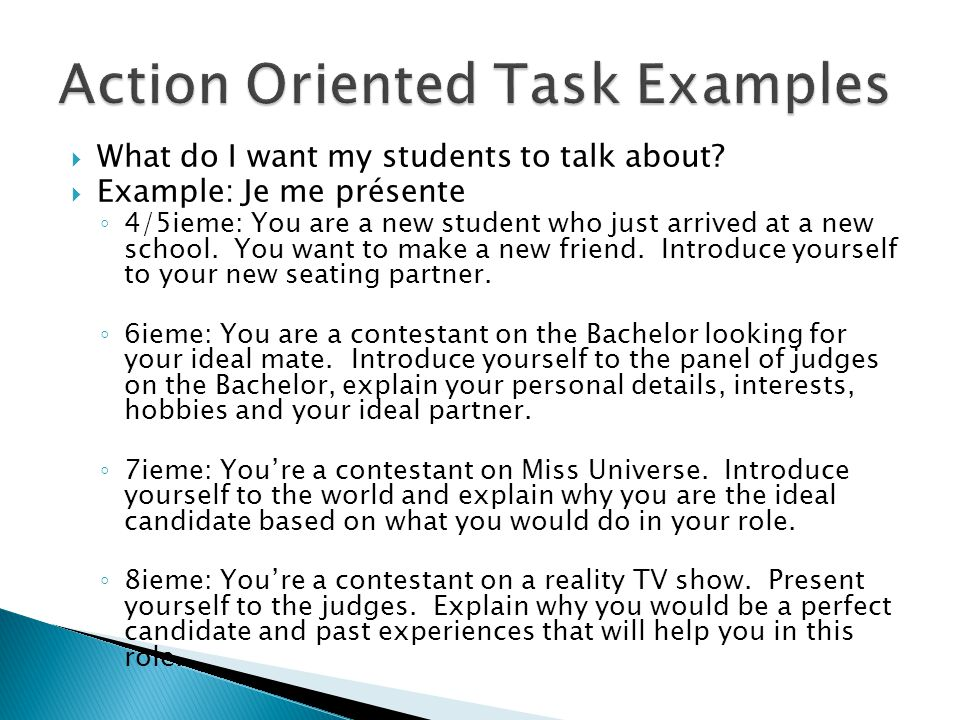 Action Oriented Task Examples