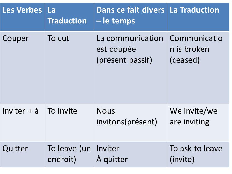 Les Verbes La Traduction. Dans ce fait divers – le temps. Couper. To cut. La communication est coupée (présent passif)