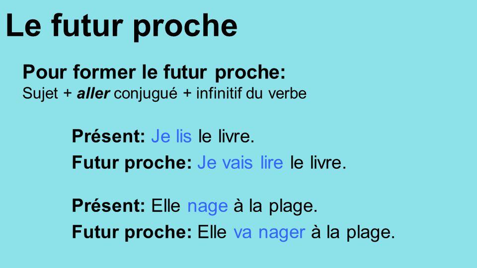 Pratiquez! Ecrivez les phrases suivantes au futur proche.
