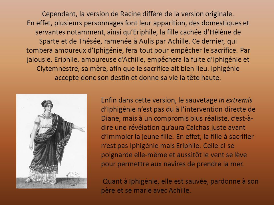 Cependant, la version de Racine diffère de la version originale