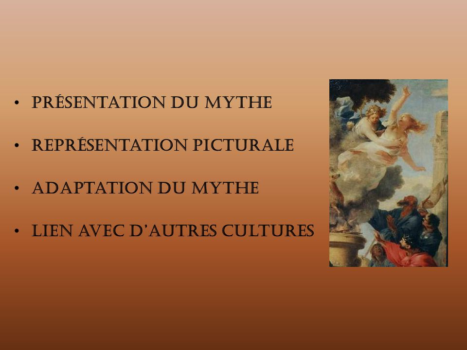 Présentation du mythe Représentation picturale Adaptation du mythe Lien avec d'autres cultures