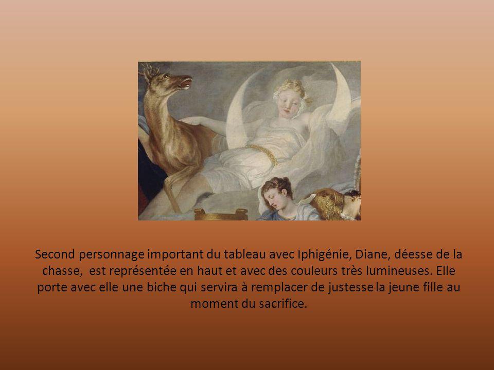 Second personnage important du tableau avec Iphigénie, Diane, déesse de la chasse, est représentée en haut et avec des couleurs très lumineuses.