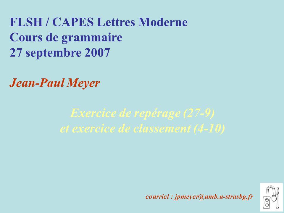 Exercice de repérage (27-9) et exercice de classement (4-10)