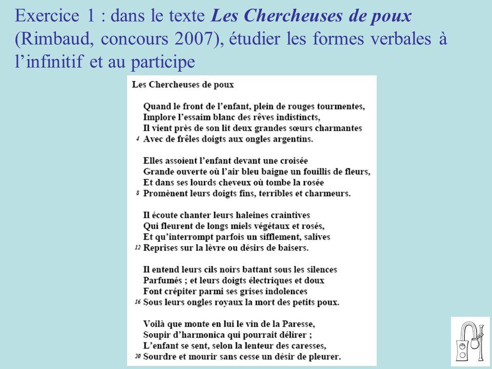 Exercice 1 : dans le texte Les Chercheuses de poux (Rimbaud, concours 2007), étudier les formes verbales à l'infinitif et au participe