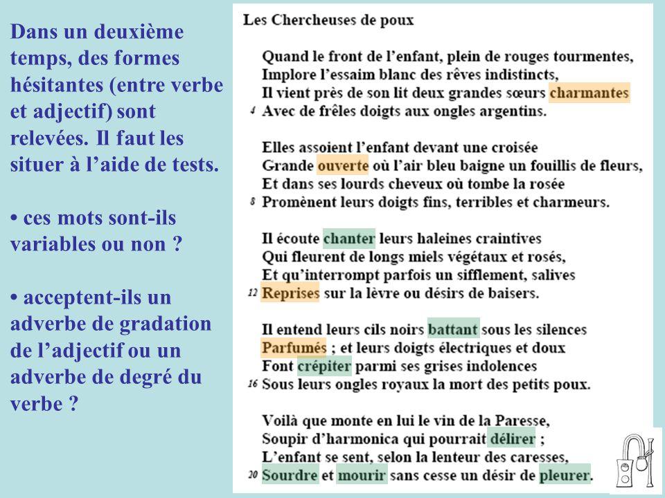 Dans un deuxième temps, des formes hésitantes (entre verbe et adjectif) sont relevées. Il faut les situer à l'aide de tests.