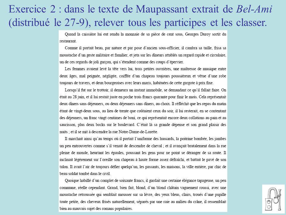 Exercice 2 : dans le texte de Maupassant extrait de Bel-Ami (distribué le 27-9), relever tous les participes et les classer.