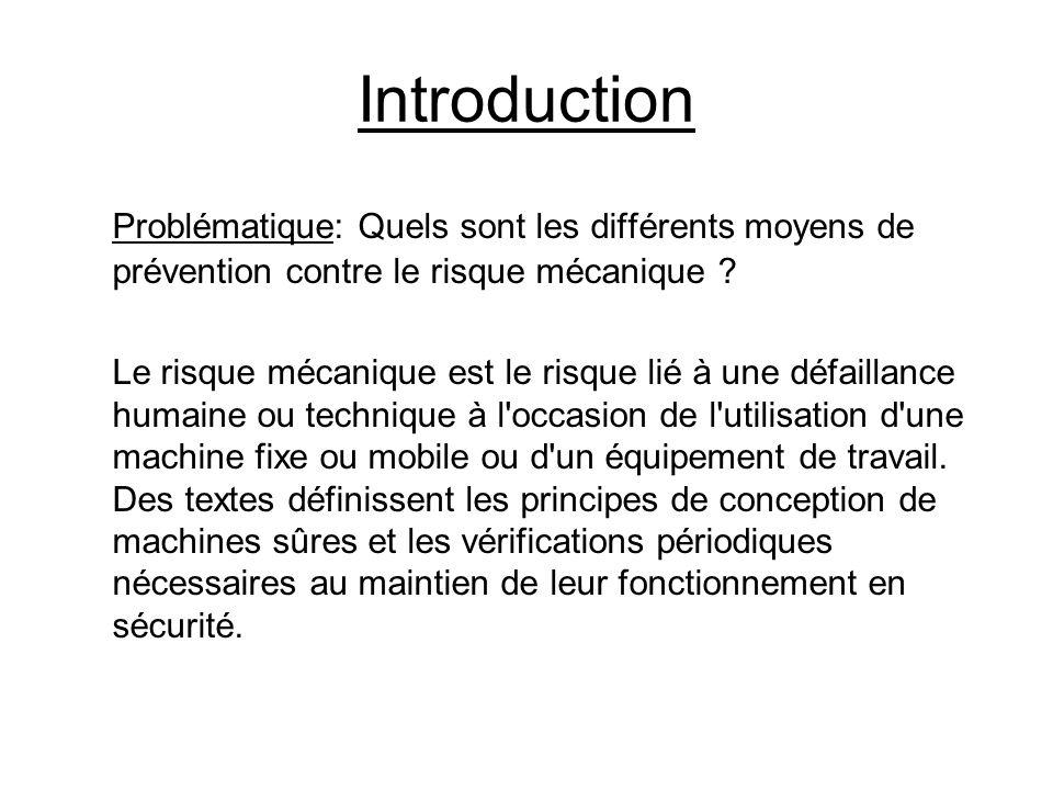 Introduction Problématique: Quels sont les différents moyens de prévention contre le risque mécanique