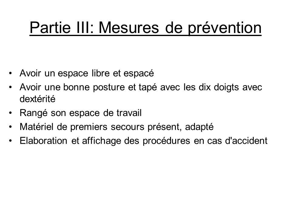 Partie III: Mesures de prévention