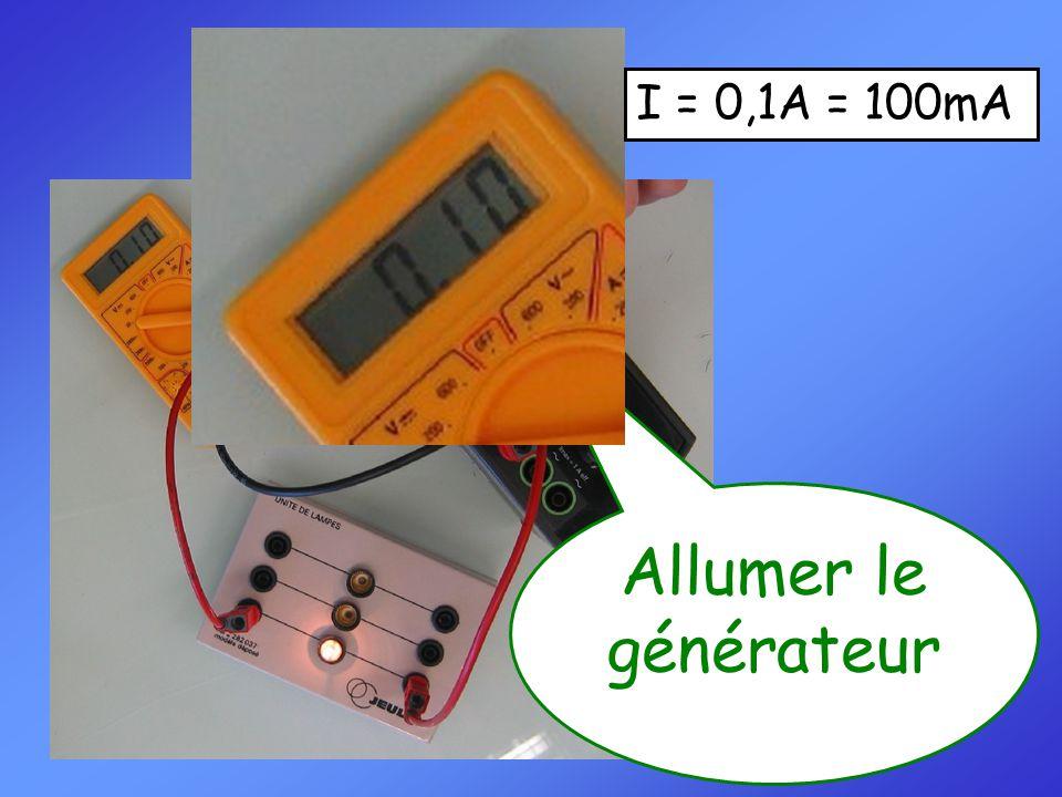 Effectuer la mesure. I = 0,1A = 100mA Allumer le générateur