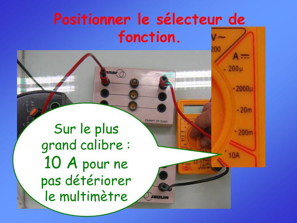 Positionner le sélecteur de fonction.