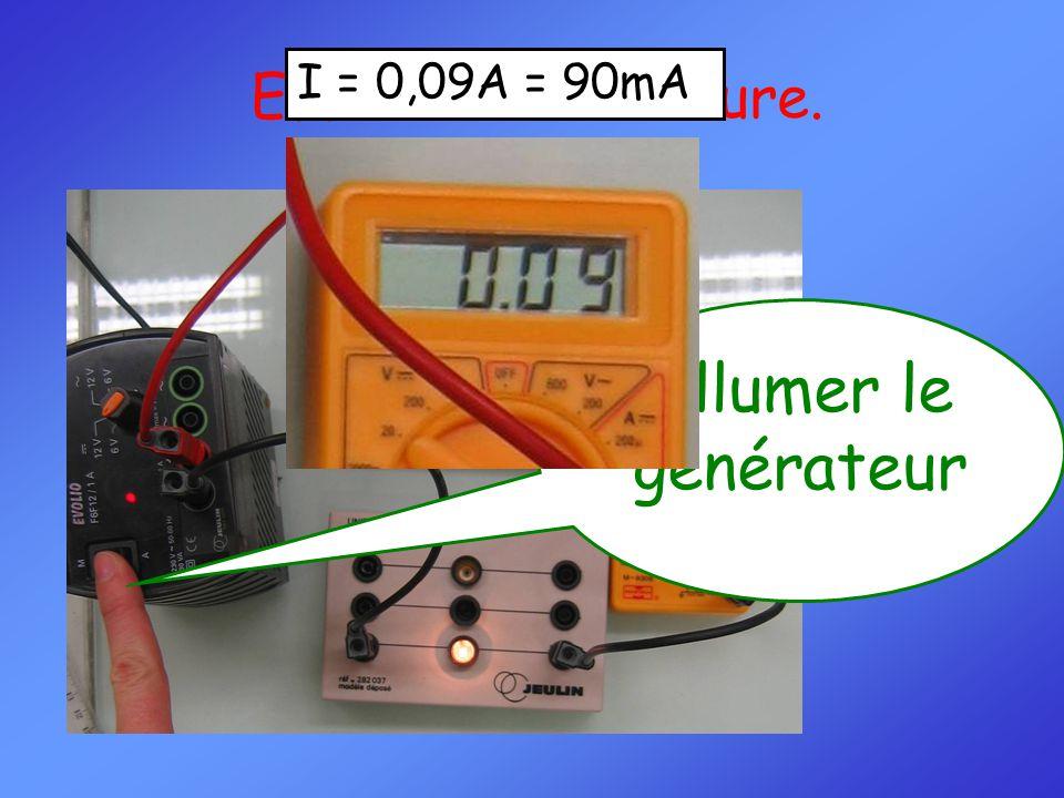 Effectuer la mesure. I = 0,09A = 90mA Allumer le générateur