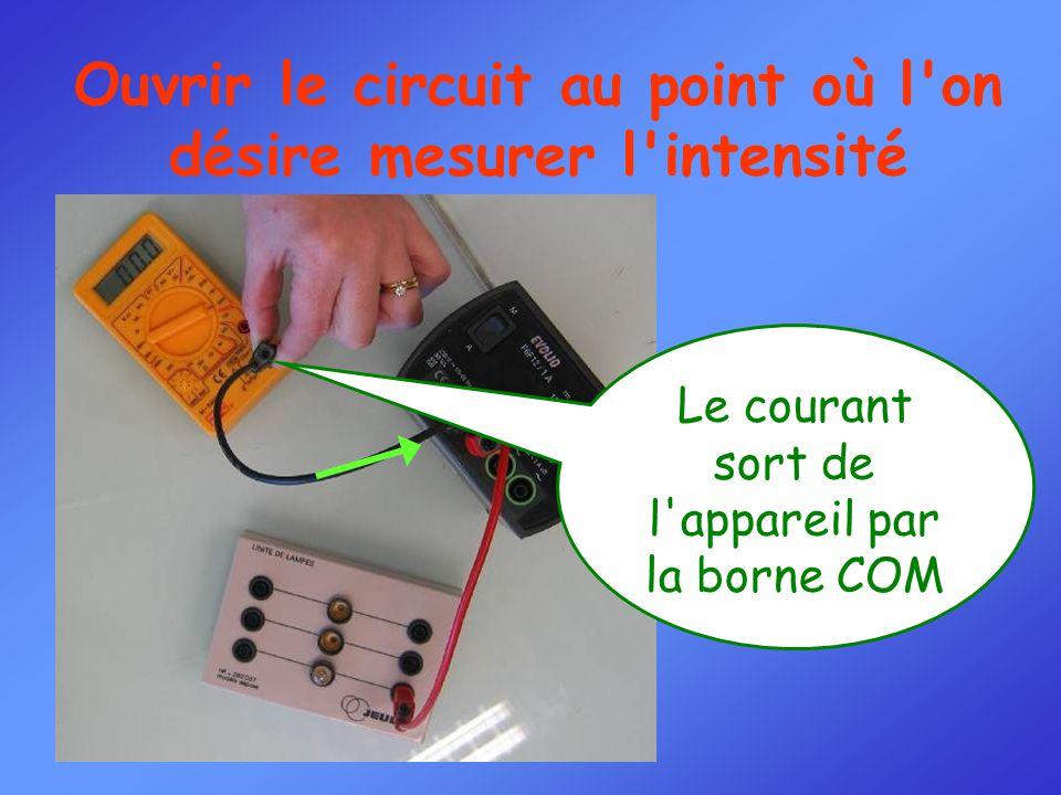 Ouvrir le circuit au point où l on désire mesurer l intensité